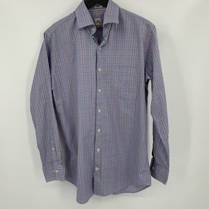 Peter Millar multi-color check men shirt blue M